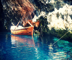 blue, cave, and Greece image