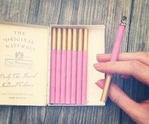 pink, cigarette, and smoke image
