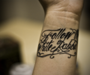 alice in wonderland, tattoo, and text image