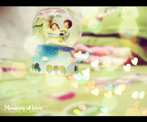 hearts, snow globe, and cute image