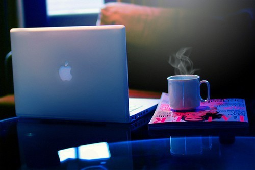 coffe, laptop, and papers image
