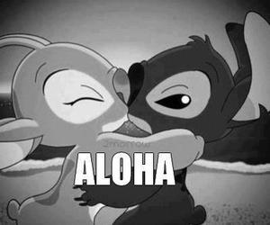 Aloha, black and white, and kiss image