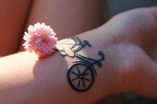 bike, flower, and painful image