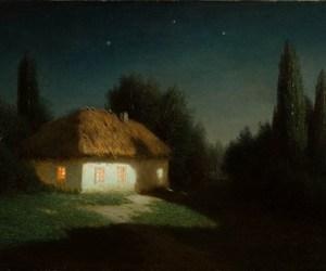 cottage, dusk, and heathen image