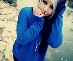 emo, hair, and blue image
