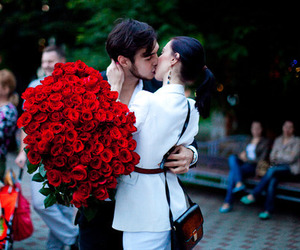 love, rose, and couple image