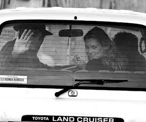kate moss, car, and black and white image