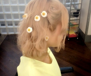 blonde, daisies, and hair style image