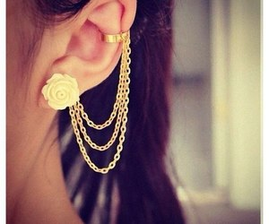 earrings, gold, and jewelry image