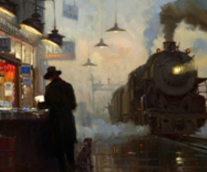 art, train, and painting image