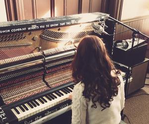 girl, music, and piano image