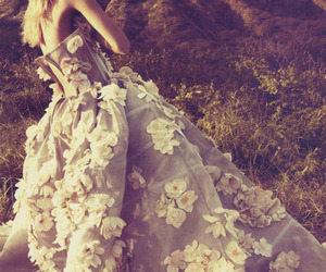 dress, flowers, and model image