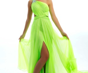 dress, gown, and neon image