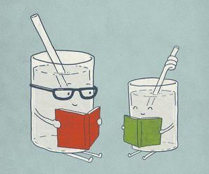 book, glass, and glasses image