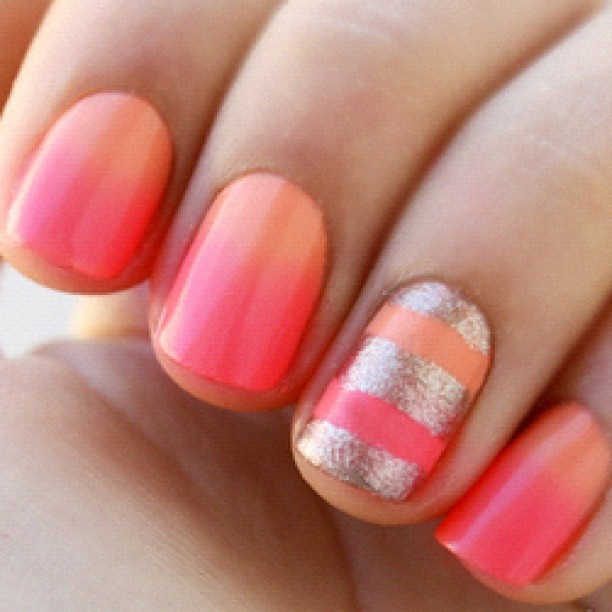 Beauty Is Not Only Skin Deep Orange And Pink Nails