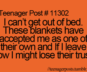 teenager post, bed, and blanket image