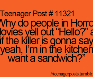 funny, horror, and teenager post image