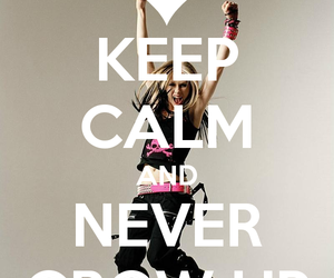 keep calm, never grow up, and Avril Lavigne image