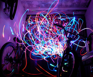 light, neon, and bike image