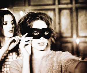 keira knightley, mask, and black and white image