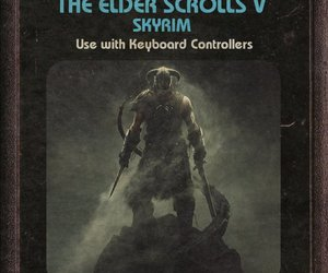skyrim, atari, and game cartridge image