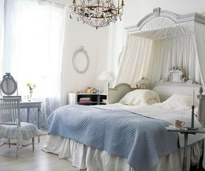 bedroom, blue, and white image