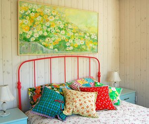 bed, bedroom, and pillow image