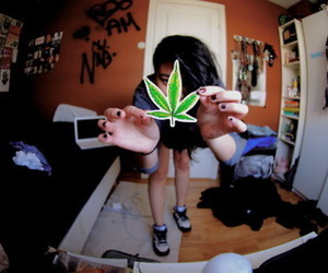 girl, weed, and marijuana image