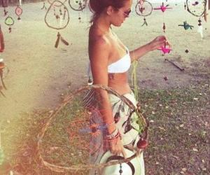 girl, peace, and dreamcatcher image