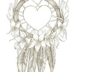 dreamcatcher, drawing, and heart image