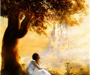 fantasy, girl, and tree image