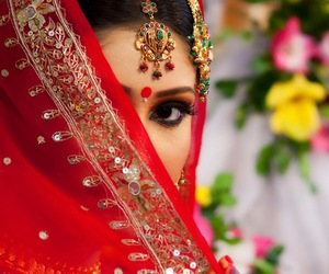 beautiful, bride, and red image