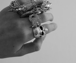 black and white, rings, and skull image