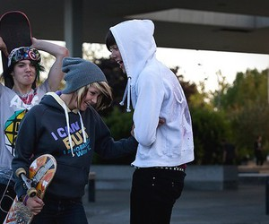 boy, skate, and friends image