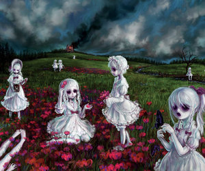 creepy, flowers, and dead image