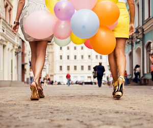 balloons, girl, and heels image