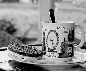 london, black and white, and cookie image