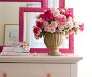 pink, flowers, and mirror image