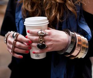 coffee, girl, and ring image