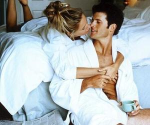 bed, cosy, and couple image