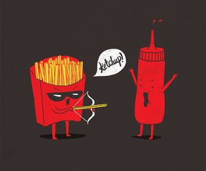 ketchup, funny, and fries image