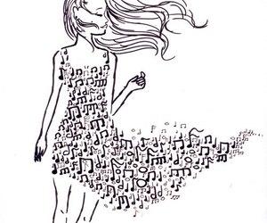 music, girl, and dress image