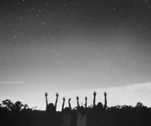 stars, sky, and black and white image