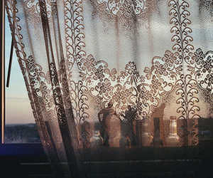window, curtains, and lace image