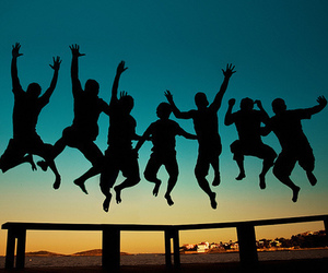 friends, jump, and summer image