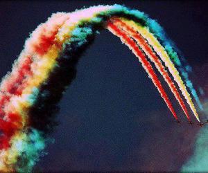 rainbow, sky, and airplane image