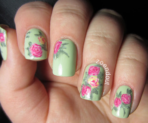 flowers, green, and nail art image