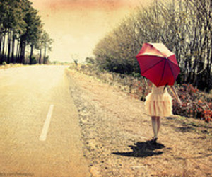 girl, umbrella, and road image