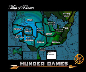 hunger games, panem, and map image