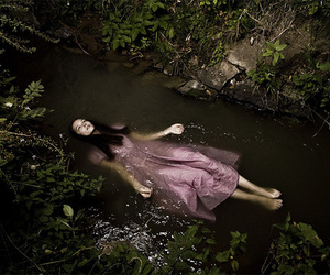 river, girl, and water image
